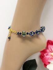 Glass Jewels XXL Gold Fußkettchen Fußkette Perlen Blau Hippie Variabel #K093