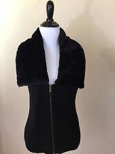 Women's GAP Black Knit Vest With Faux Fur Collar Size M