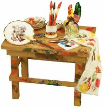 12th Scale Artist Table with Accessories (for collectors or dolls house owners)