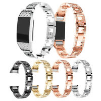 Crystal Stainless Steel Watch Band Bracelet Wearable For Fitbit charge 2