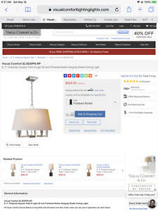 EXC COND E.F. Chapman Visual Comfort 6-Arm Chandelier in Polished Nickel