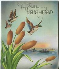 VINTAGE DUCKS MARSH CATTAILS FISHERMAN FISHING BOAT POND HUSBAND BD CARD PRINT
