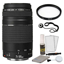 Canon EF 75-300mm f/4.0-5.6 III Lens + Bundle for T5 T6 T3i T6i 70D 80D 60D T6i
