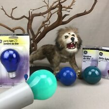 4 GE Specialty Party Light Bulbs 25w Blue & Turquoise/ Aqua Vintage