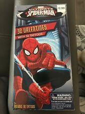 Ultimate Spider-Man Valentines Cards 32 Cards with 32 Tattoos - Brand New
