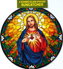 SACRED HEART OF JESUS STAINED GLASS SUN CATCHER STICKER STATUES CANDLES LISTED