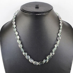 Natural Fluorite Necklace Cabochon Shaded Oval Beads 925 Silver Clasp 18 Inch
