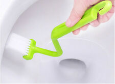 Sanitary S-type Toilet Brush Curved Bent Handle Cleaning Scrubber
