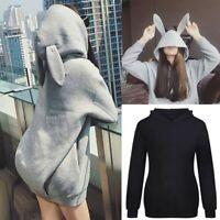 Fashion Women Casual Rabbit Ears Top Hoodie Long Sleeve Blouse Loose Sweatshirt
