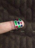 .925 Genuine Sterling Silver Ring Jewelry Multicolor Enamel Size 6.5