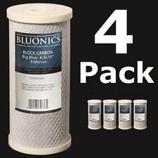 "4-PK Carbon Block Big Blue 10 x 4.5"" Whole House Charcoal Water Filters 5 Micron"