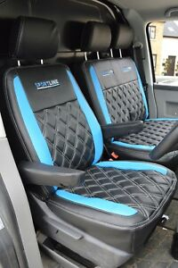VW Transporter T6 Tailored Van Seat Covers Black Blue with Diamonds & Logos