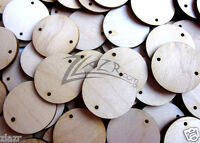 "(100) 1""x1/8"" Wooden Circles Birthday Craft Disc 2 Hole Laser Cut TAGS Hard wood"