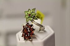 Garnet and Green Peridot Floral Ring 14k YG Platinum over SS - S7 NWT TGW 5.650