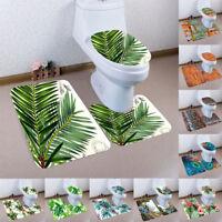 3PCS Print Bathroom Non-Slip Pedestal Rug + Lid Toilet Cover + Bath Mat Set US
