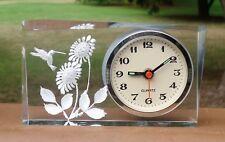 H/Crafted Clear Acrylic Analogue Quartz Alarm Clock *Honeyeater Bird & Flowers
