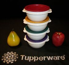 Tupperware NEW 4 WHITE Servalier Serving Bowls ~Jewel Gem ~RED PURPLE GOLD GREEN