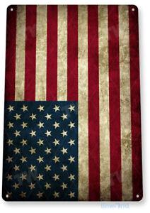 American Flag Patriotic Rustic USA American Flag Metal Decor Tin Sign A212