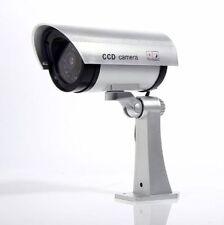 Fake Dummy Camera Surveillance Cctv Security W/ Flashing Ir Led Bullet Silver Sa