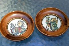 """Wall Hanging Picture Room Decor 5"""" round set of two print children with birds"""