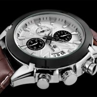 Orologio Lusso Militare Top Qualità Uomo Mégir Pelle Datario Cronografo