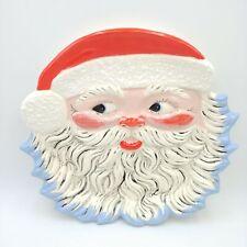 "Vintage Santa Claus Platter/Plate - Hand Painted Textured Ceramic 13"""