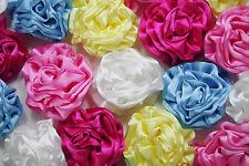 "20XXL Lovely Satin Ribbon Ruffle Rose Embellishments - Colour Mix - 40mm/1.6"""