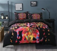 Multi Elephant Indian Mandala Queen Size Bed Quilt Hippie Doona Duvet Cover Set