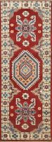Geometric Super Kazak Vegetable Dye Oriental Hand-knotted Tribal Runner Rug 2x6