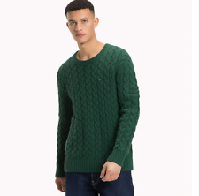 Pull Tommy Jeans DM0DM05078 Pull Hilfiger Col Rond Vert Pour Homme
