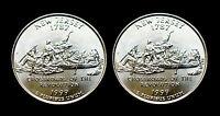 1999 P+D New Jersey Statehood BU Washington Quarter Set ~ Two U.S. Mint Coins
