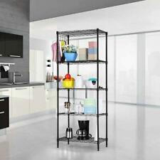 Black 5-Tier Layer Shelf Adjustable Wire Metal Shelving Rack High Quality Garage