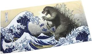 GODZILLA Face Towel Fugaku Mt Fuji From Japan Rare, rampaging in the Sea of Edo