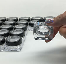 25 Empty Small Plastic Lip Balm Containers Black Trim Acrylic Lid 10 Gram #3089