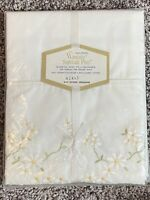 Vintage Sealed Wamsutta Supercale Pillowcases White W/Embroidery Floral
