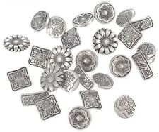 50 Shabby Chic Metal Patterned Buttons Silver Scrap booking Sewing Etc