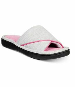 ISOTONER jersey Nicole women's slide slippers with Memory Foam GRAY/PINK (6.5-7)