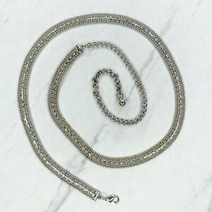 "Silver Tone Beaded Rhinestone Belly Body Chain Belt One Size 28""-38"""