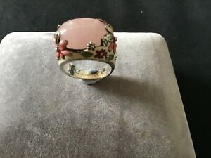 Vintage Sterling Silver Large Rose Quartz /Flower Enamel Ring (13.5 gms)