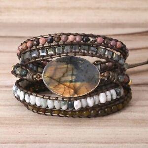 Handmade Natural Stone Labradorite & Green Tree Agate Beaded Wrap Bracelet Cuff