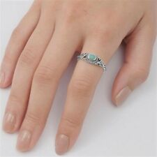 USA Seller Oval Turquoise Ring Sterling Silver 925 Best Deal Jewelry Size 4
