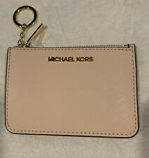 Michael Kors JST Small Top Zip Coin Pouch ID Card Holder Key Ring Powder Blush