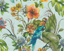 CONTOURED PARROT MACAW VINYL TEXTURED FEATURE WALLPAPER A.S.CREATION 30015-2