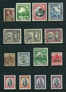 10 mint hinged & 5 used Stamp - Grenada 1918-1950