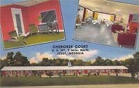 Georgia Ga Postcard Linen Roadside JESUP Cherokee Courts Restaurant 3View