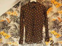 Vintage Gallagher 60s 70s Patterned Shirt Slim Fit Size M