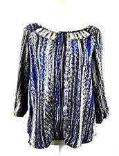 HeartSoul Womens Sz Medium 8 Flowy Top Blouse Print Shirt M 3/4 Sleeve Blue NEW