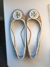 TORY BURCH Raffia/White Ballet Flats Size: 10 Women's