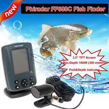 Phiradar FF688C PORTABLE FISH FINDER SONAR DEPTH SOUNDER 300 Metre WITH ALARM V7