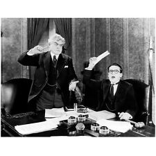 Harold Lloyd Holding Paper Up with Man Sticking Finger in Ear 8 x 10 Inch Photo